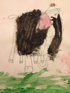 An awesome elephant drawn by a student.